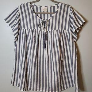 St. John's Bay   0X   Striped Flowy T-Shirt